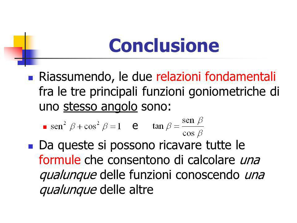 Conclusione Riassumendo, le due relazioni fondamentali fra le tre principali funzioni goniometriche di uno stesso angolo sono: