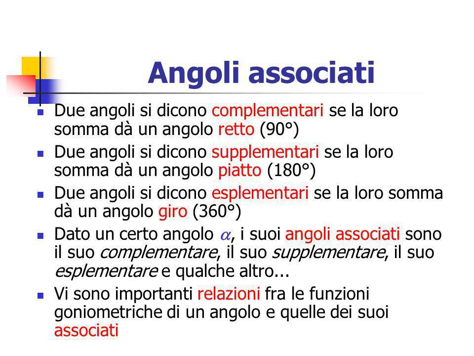 Angoli associatiDue angoli si dicono complementari se la loro somma dà un angolo retto (90°)