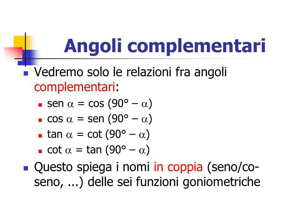 Angoli complementari Vedremo solo le relazioni fra angoli complementari: sen  = cos (90° – ) cos  = sen (90° – )
