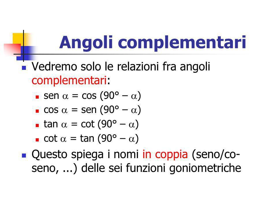 Angoli complementariVedremo solo le relazioni fra angoli complementari: sen  = cos (90° – ) cos  = sen (90° – )