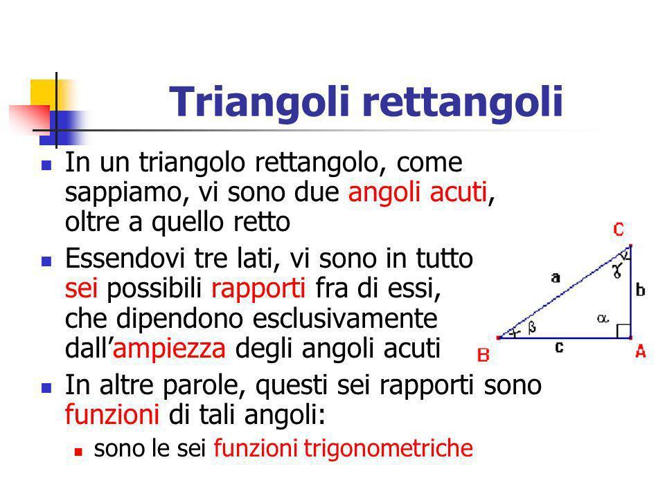 Triangoli rettangoliIn un triangolo rettangolo, come sappiamo, vi sono due angoli acuti, oltre a quello retto.