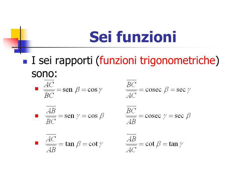 Sei funzioni I sei rapporti (funzioni trigonometriche) sono: