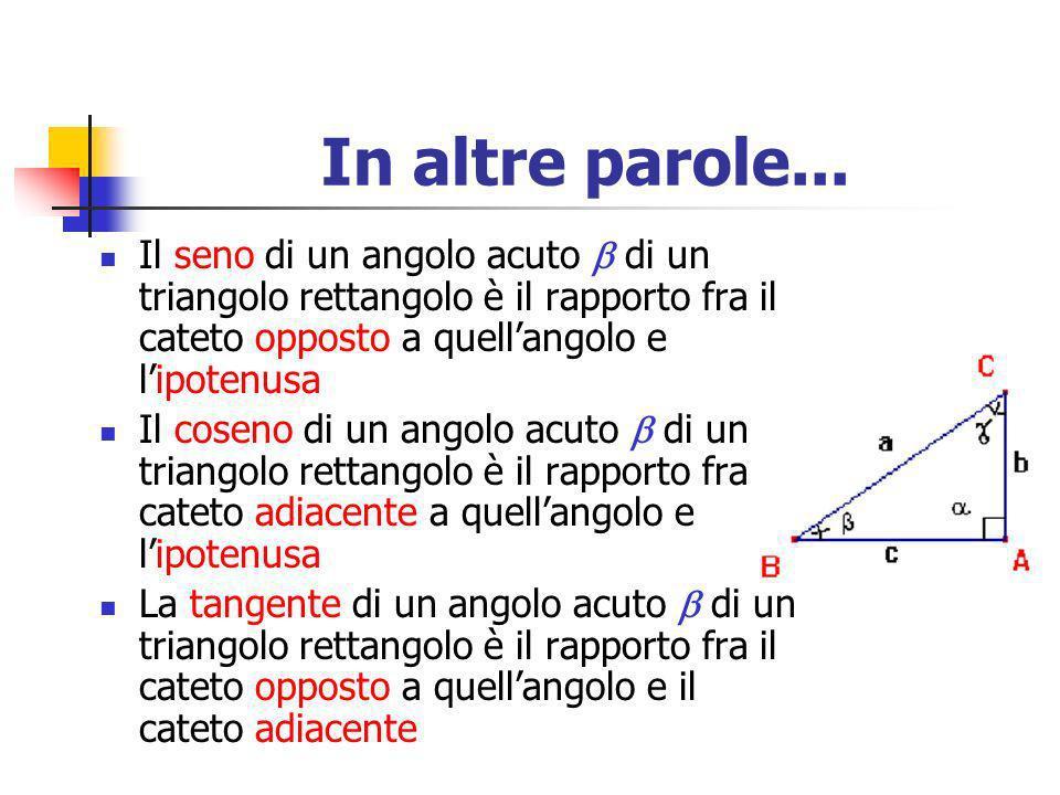 In altre parole...Il seno di un angolo acuto  di un triangolo rettangolo è il rapporto fra il cateto opposto a quell'angolo e l'ipotenusa.