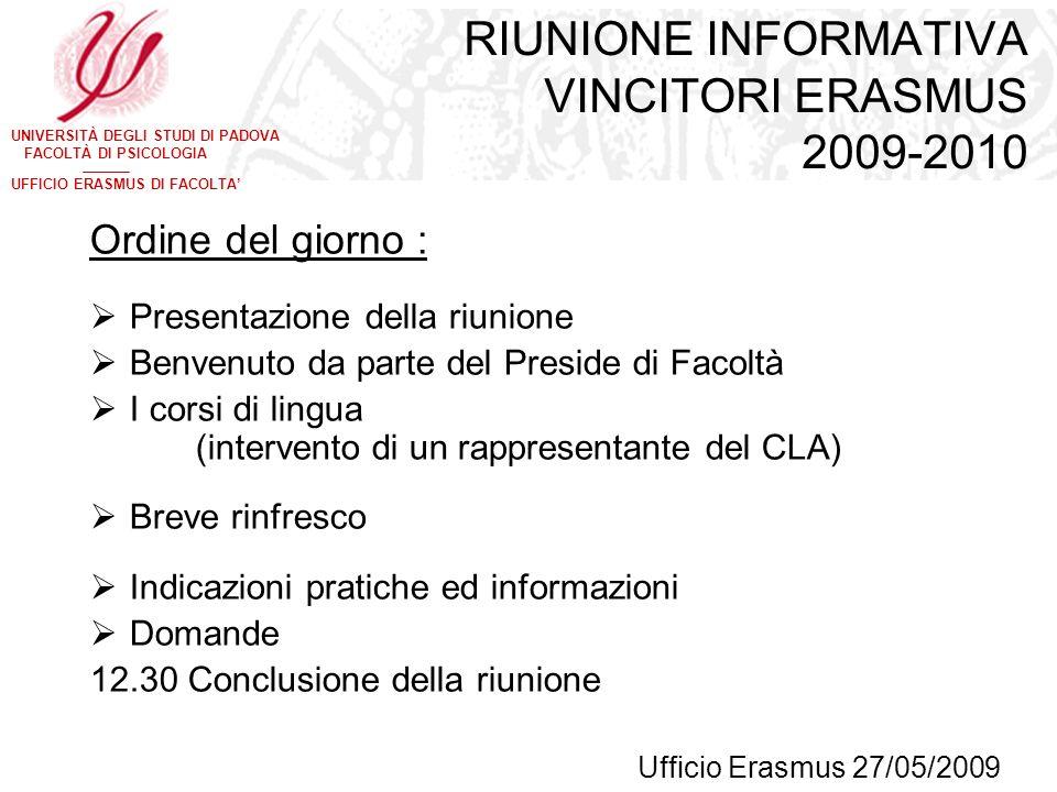 RIUNIONE INFORMATIVA VINCITORI ERASMUS 2009-2010
