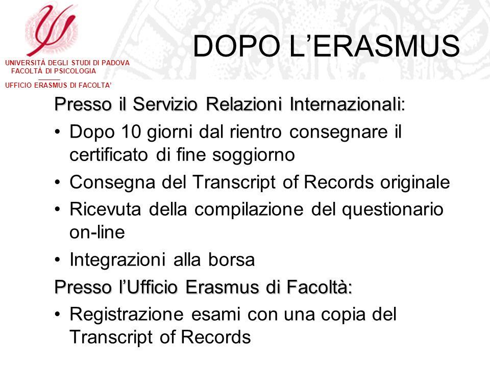 DOPO L'ERASMUS Presso il Servizio Relazioni Internazionali: