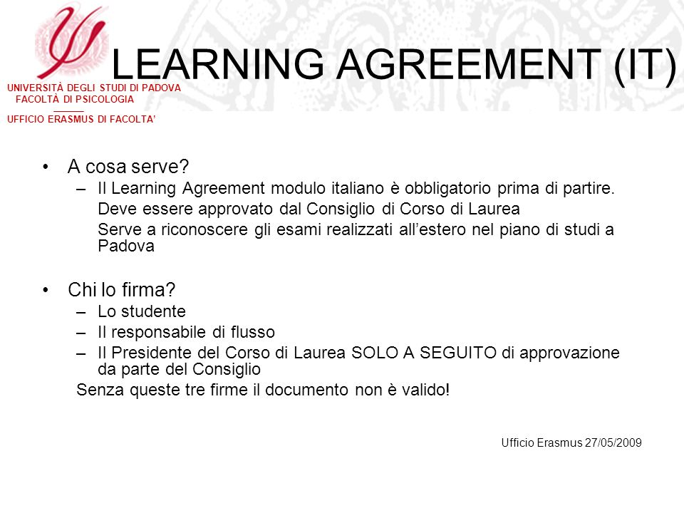 LEARNING AGREEMENT (IT)