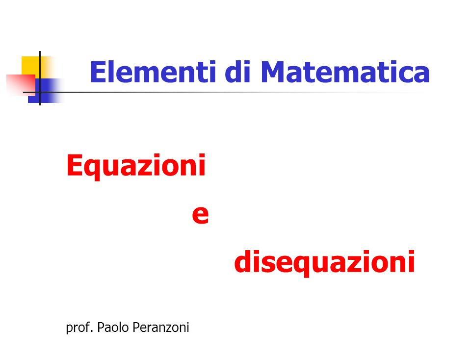 Elementi di Matematica