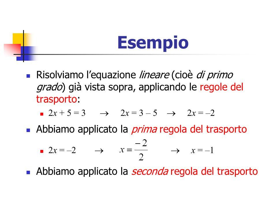 Esempio Risolviamo l'equazione lineare (cioè di primo grado) già vista sopra, applicando le regole del trasporto: