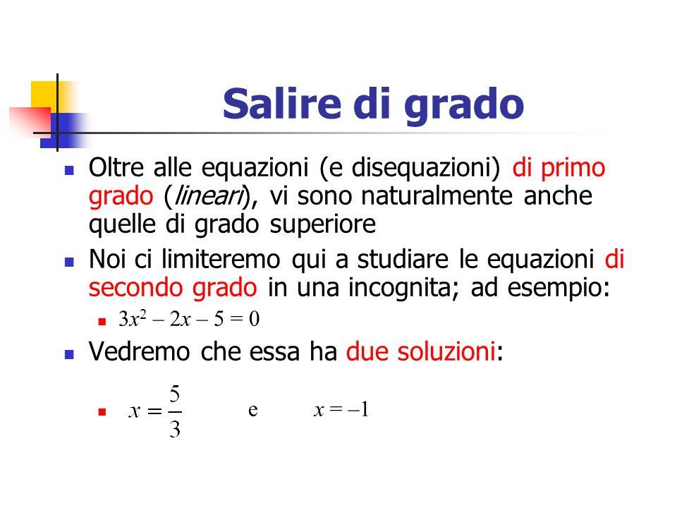 Salire di grado Oltre alle equazioni (e disequazioni) di primo grado (lineari), vi sono naturalmente anche quelle di grado superiore.