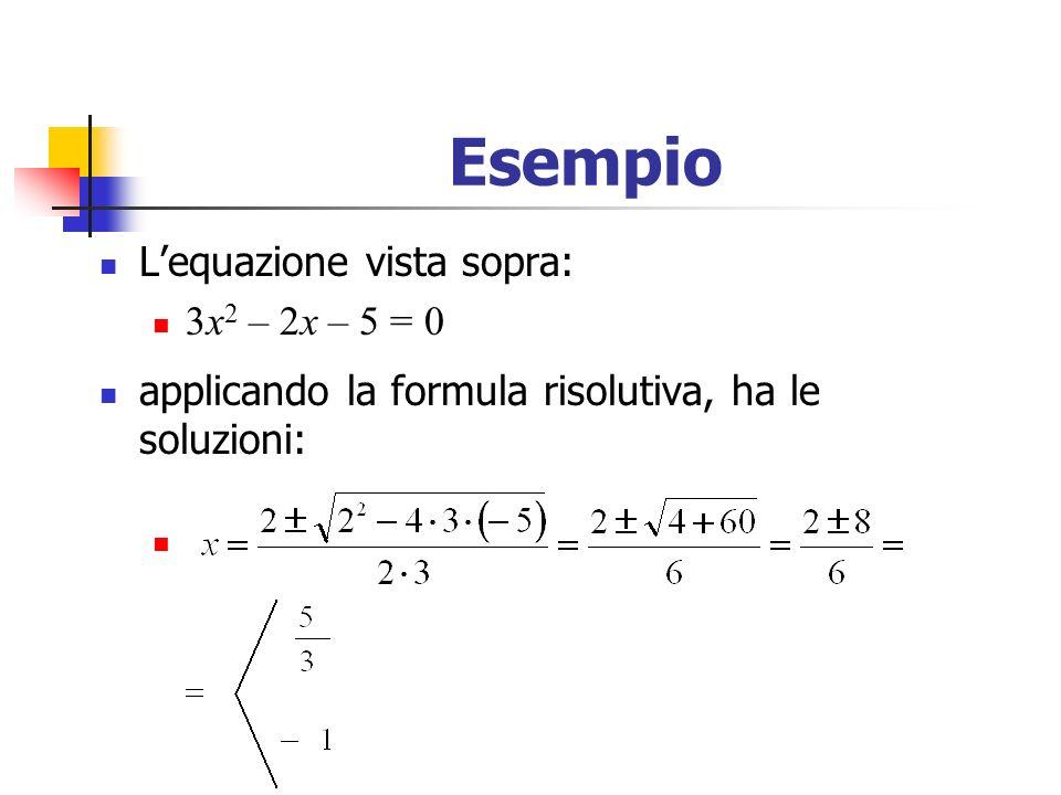Esempio L'equazione vista sopra: 3x2 – 2x – 5 = 0