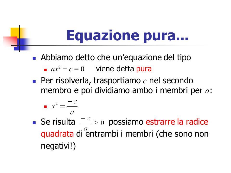 Equazione pura... Abbiamo detto che un'equazione del tipo