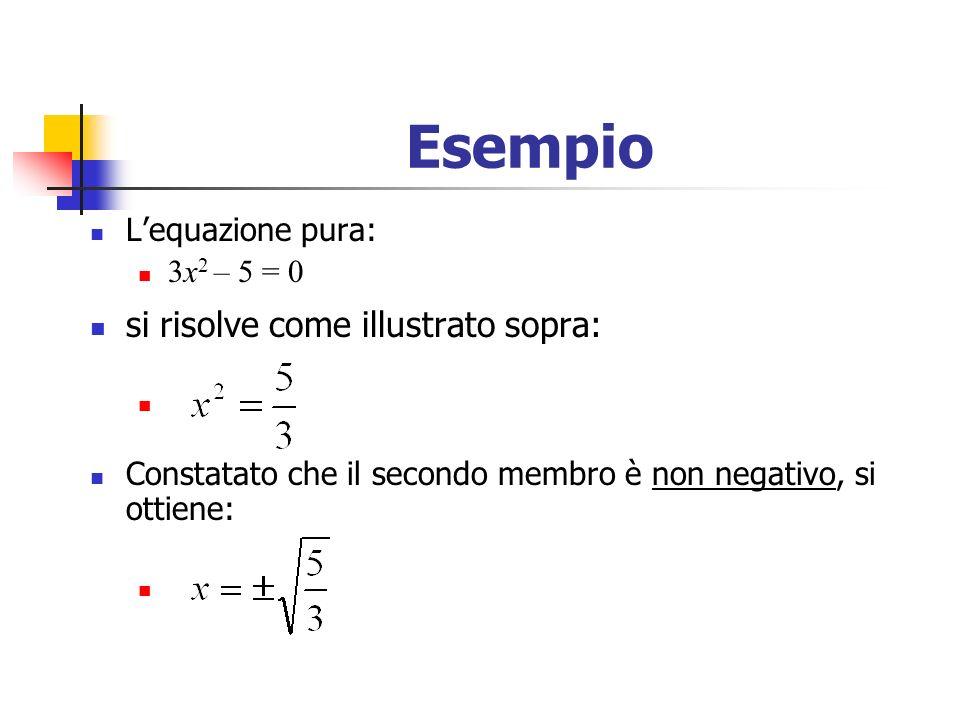 Esempio si risolve come illustrato sopra: L'equazione pura: