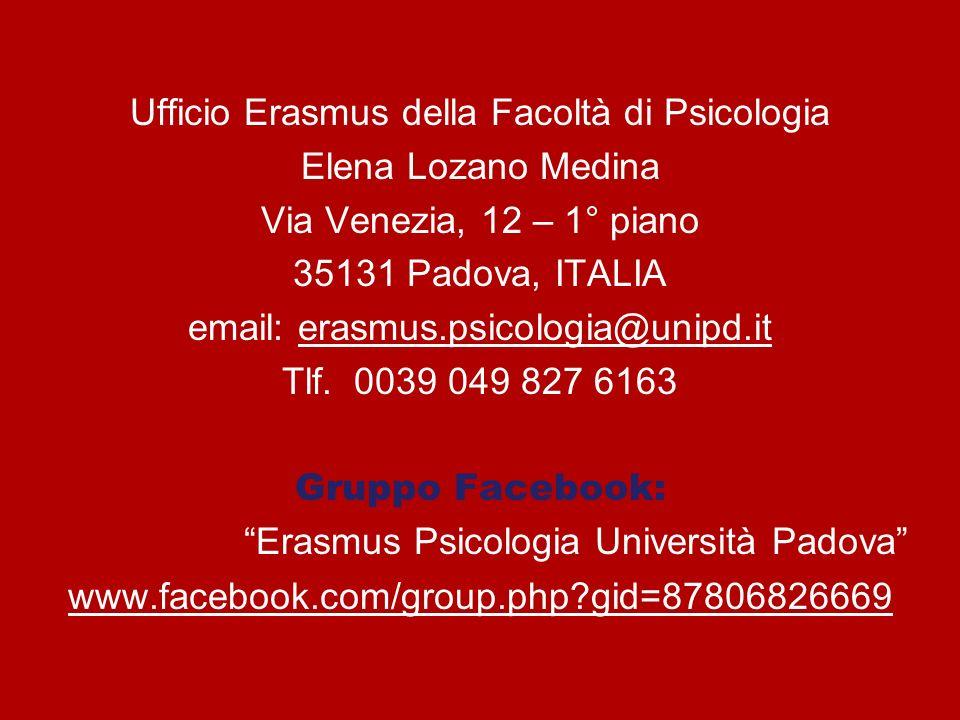 Ufficio Erasmus della Facoltà di Psicologia Elena Lozano Medina