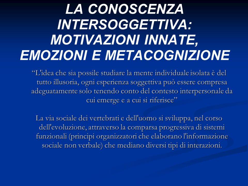 LA CONOSCENZA INTERSOGGETTIVA: MOTIVAZIONI INNATE, EMOZIONI E METACOGNIZIONE