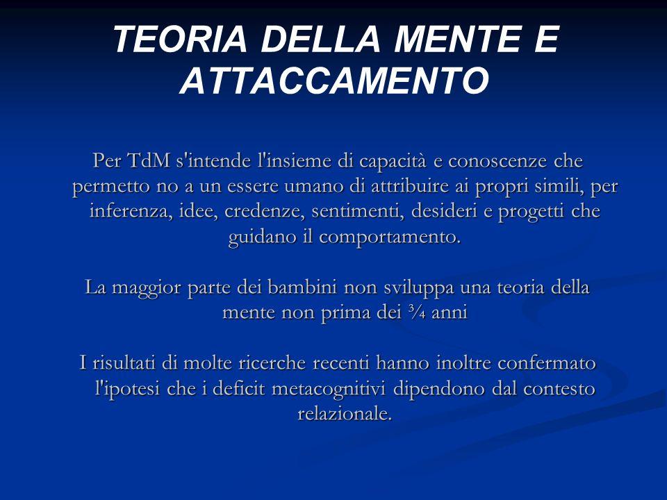 TEORIA DELLA MENTE E ATTACCAMENTO