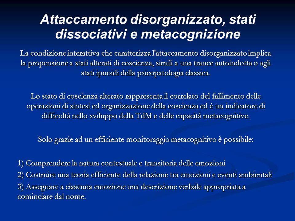 Attaccamento disorganizzato, stati dissociativi e metacognizione