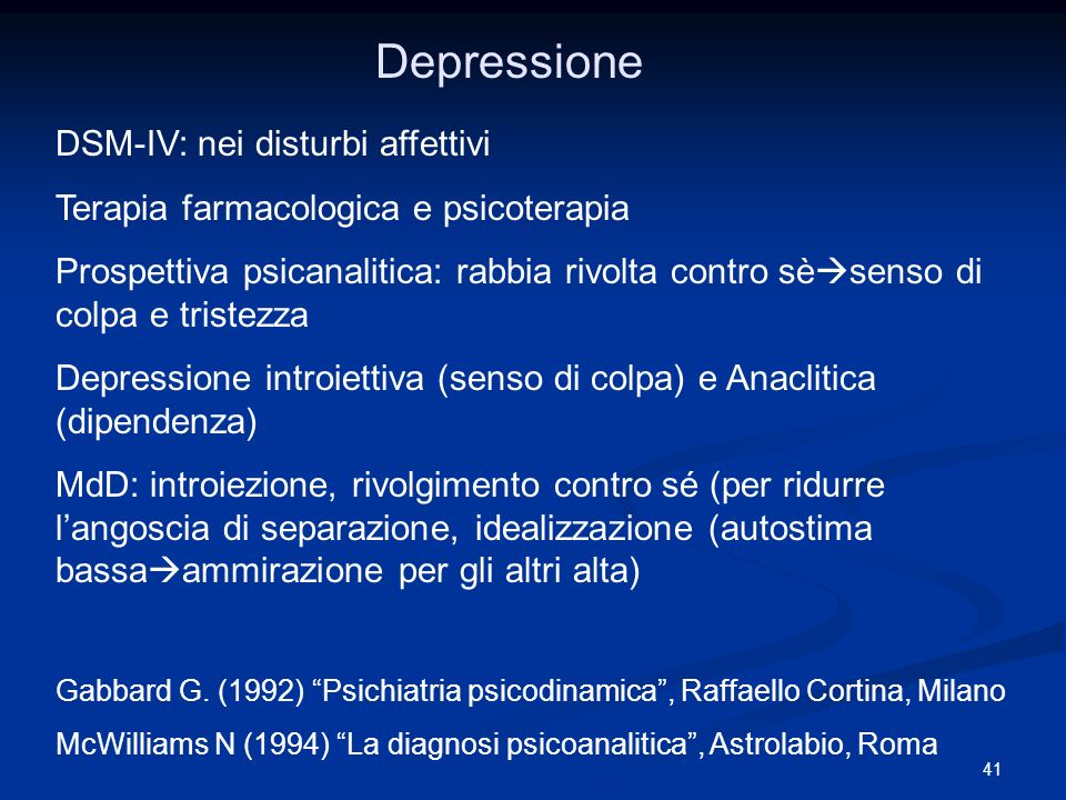 Depressione DSM-IV: nei disturbi affettivi