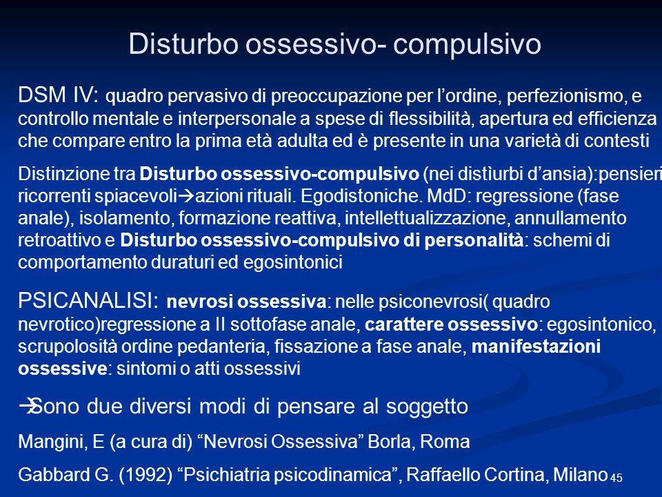 Disturbo ossessivo- compulsivo