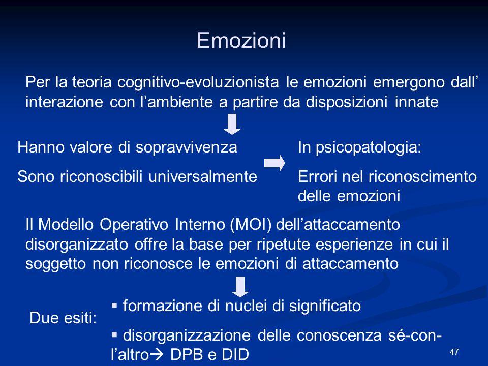 Emozioni Per la teoria cognitivo-evoluzionista le emozioni emergono dall' interazione con l'ambiente a partire da disposizioni innate.