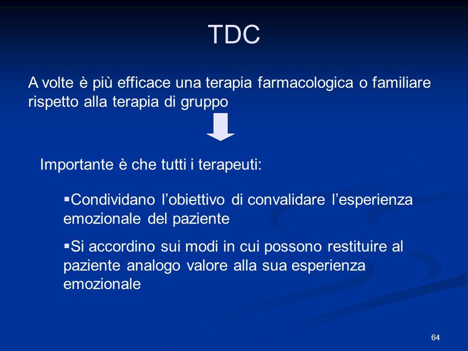 TDC A volte è più efficace una terapia farmacologica o familiare rispetto alla terapia di gruppo. Importante è che tutti i terapeuti: