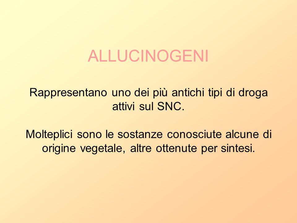 ALLUCINOGENI Rappresentano uno dei più antichi tipi di droga attivi sul SNC.