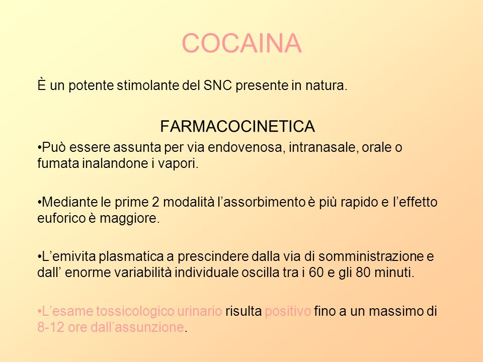 COCAINA FARMACOCINETICA