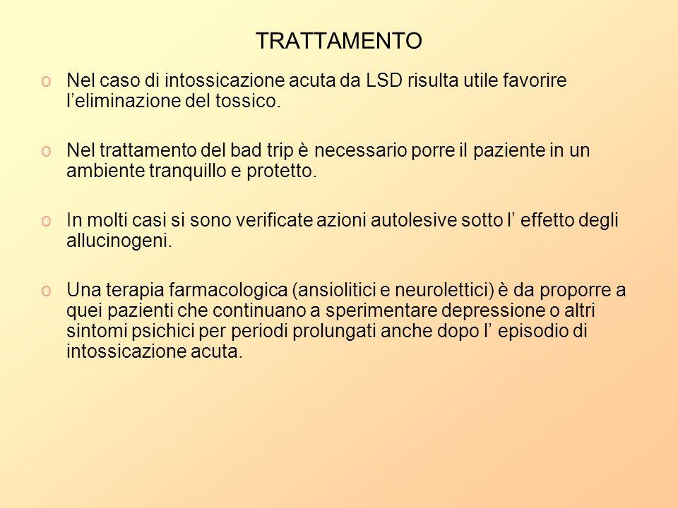 TRATTAMENTONel caso di intossicazione acuta da LSD risulta utile favorire l'eliminazione del tossico.
