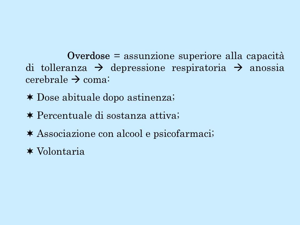 Overdose = assunzione superiore alla capacità di tolleranza  depressione respiratoria  anossia cerebrale  coma: