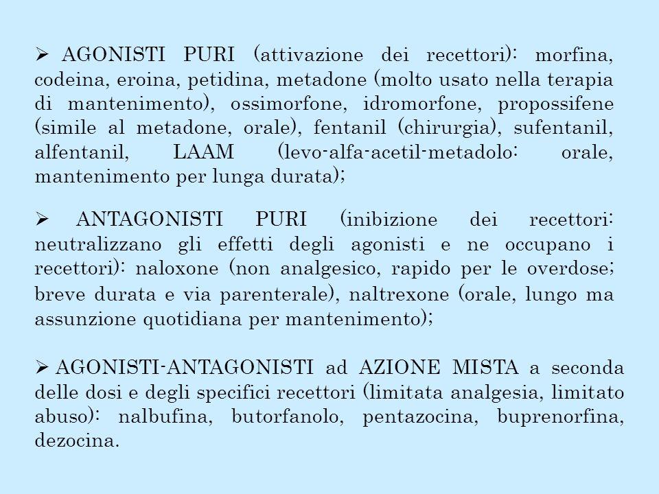 Ø AGONISTI PURI (attivazione dei recettori): morfina, codeina, eroina, petidina, metadone (molto usato nella terapia di mantenimento), ossimorfone, idromorfone, propossifene (simile al metadone, orale), fentanil (chirurgia), sufentanil, alfentanil, LAAM (levo-alfa-acetil-metadolo: orale, mantenimento per lunga durata);