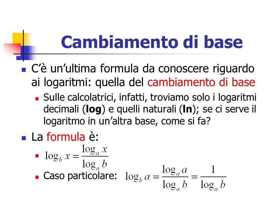 Cambiamento di base C'è un'ultima formula da conoscere riguardo ai logaritmi: quella del cambiamento di base.