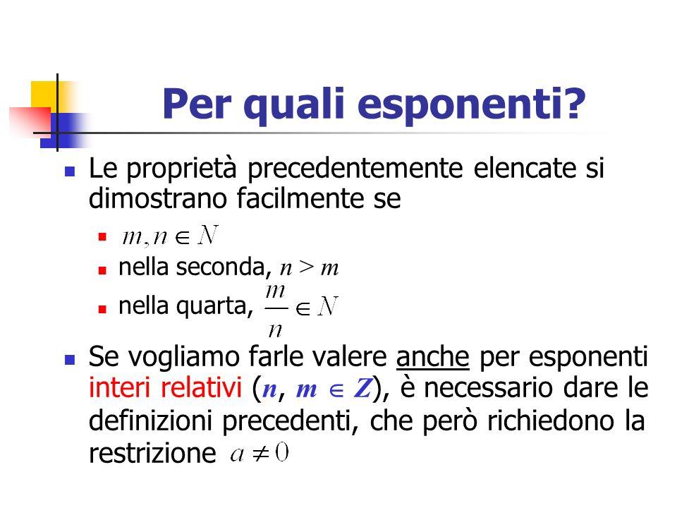Per quali esponenti Le proprietà precedentemente elencate si dimostrano facilmente se. nella seconda, n > m.
