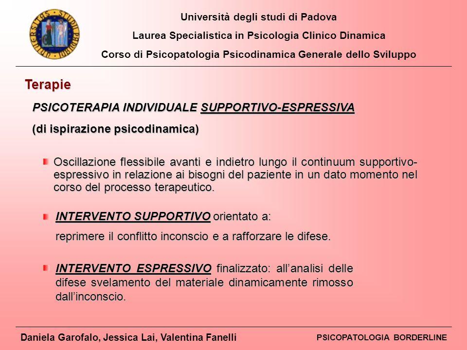Terapie PSICOTERAPIA INDIVIDUALE SUPPORTIVO-ESPRESSIVA
