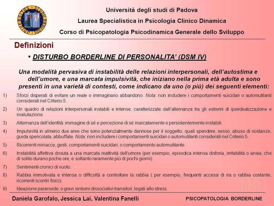 DISTURBO BORDERLINE DI PERSONALITA' (DSM IV)