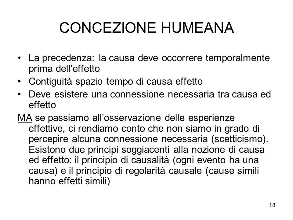 CONCEZIONE HUMEANA La precedenza: la causa deve occorrere temporalmente prima dell'effetto. Contiguità spazio tempo di causa effetto.