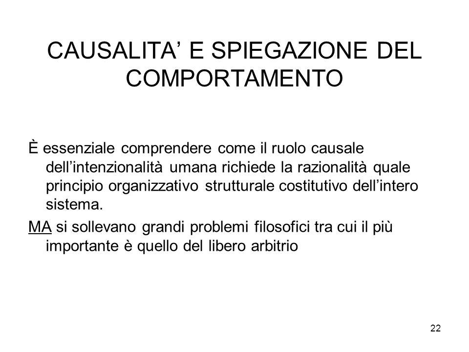 CAUSALITA' E SPIEGAZIONE DEL COMPORTAMENTO