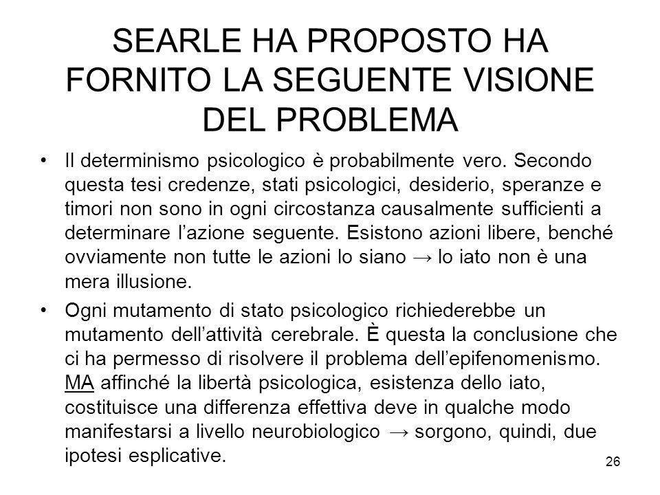 SEARLE HA PROPOSTO HA FORNITO LA SEGUENTE VISIONE DEL PROBLEMA
