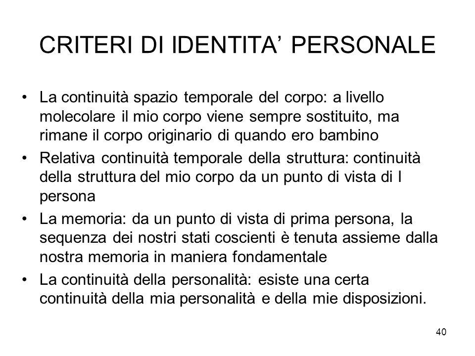 CRITERI DI IDENTITA' PERSONALE