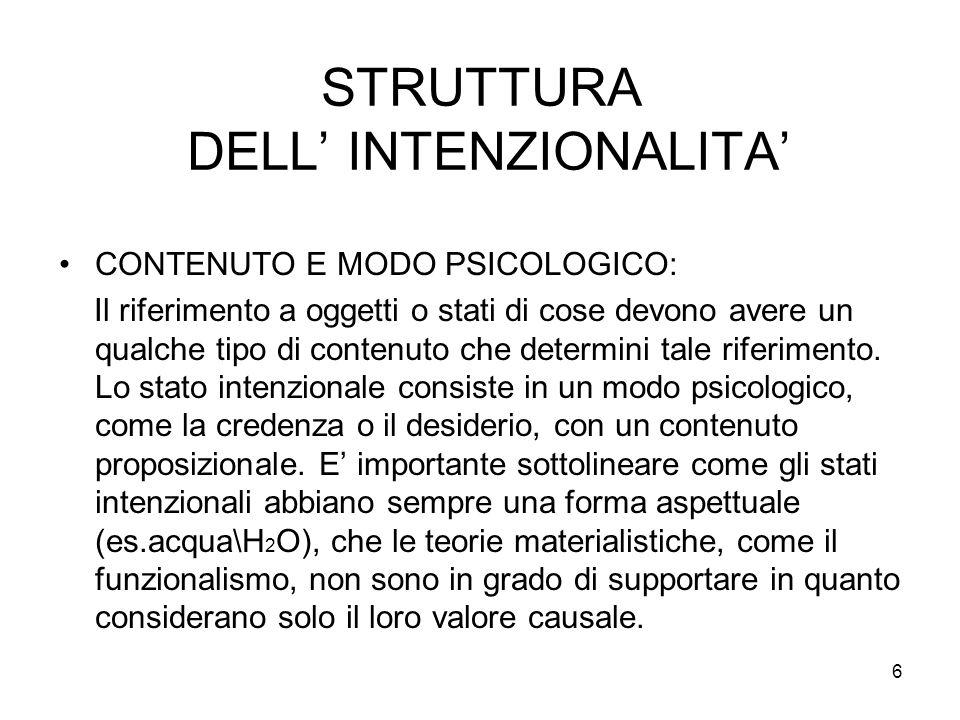 STRUTTURA DELL' INTENZIONALITA'