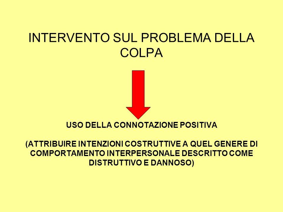 INTERVENTO SUL PROBLEMA DELLA COLPA USO DELLA CONNOTAZIONE POSITIVA (ATTRIBUIRE INTENZIONI COSTRUTTIVE A QUEL GENERE DI COMPORTAMENTO INTERPERSONALE DESCRITTO COME DISTRUTTIVO E DANNOSO)