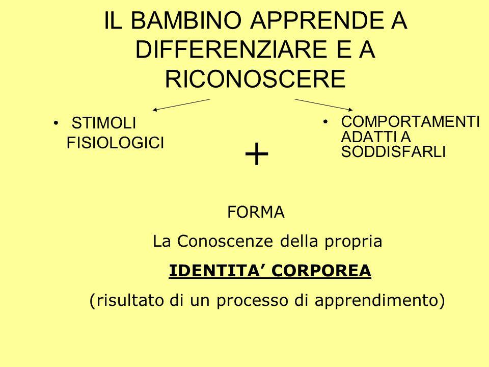 IL BAMBINO APPRENDE A DIFFERENZIARE E A RICONOSCERE
