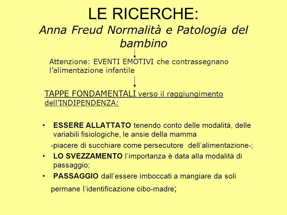 LE RICERCHE: Anna Freud Normalità e Patologia del bambino
