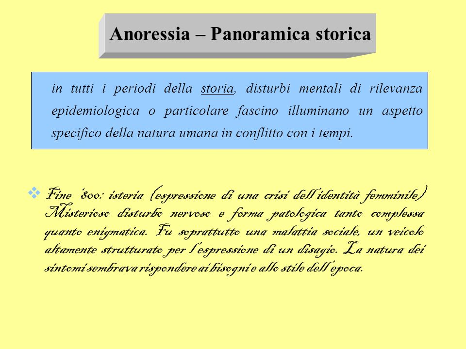 Anoressia – Panoramica storica