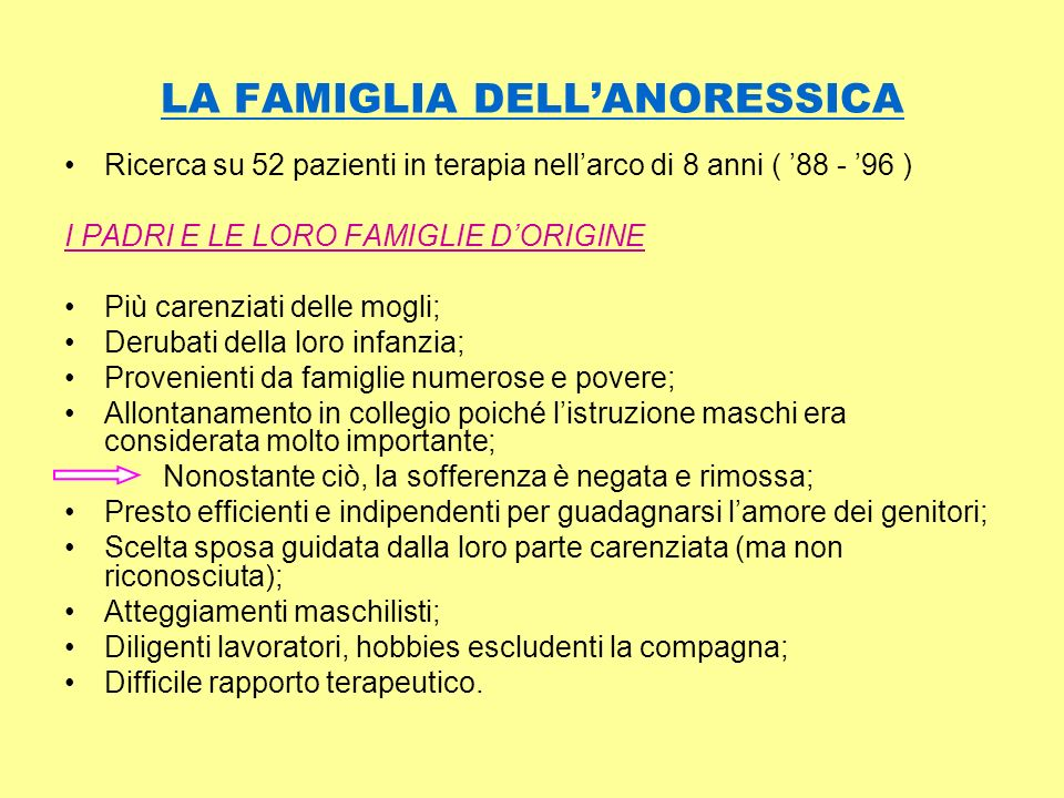 LA FAMIGLIA DELL'ANORESSICA