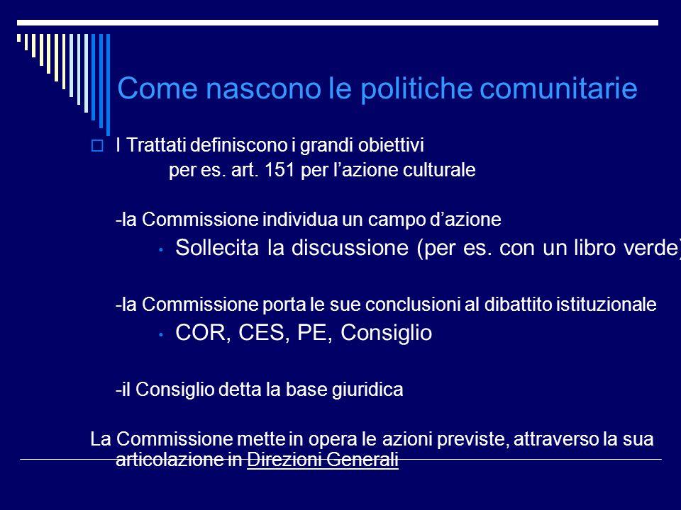 Come nascono le politiche comunitarie