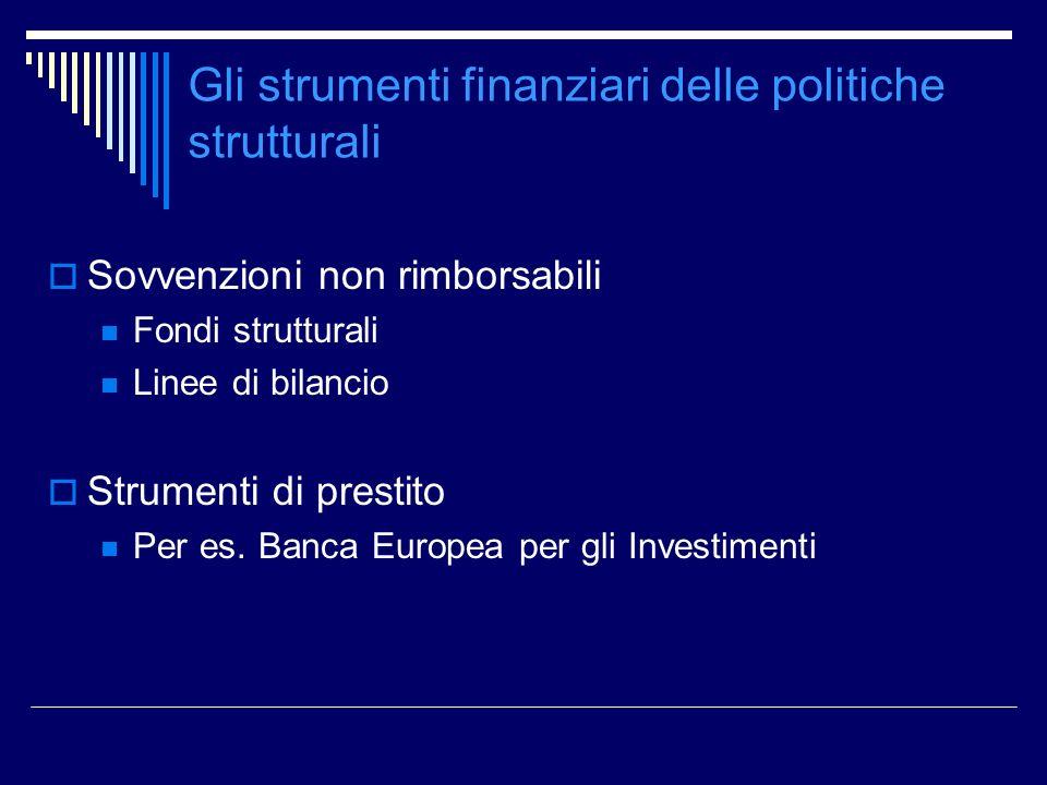Gli strumenti finanziari delle politiche strutturali