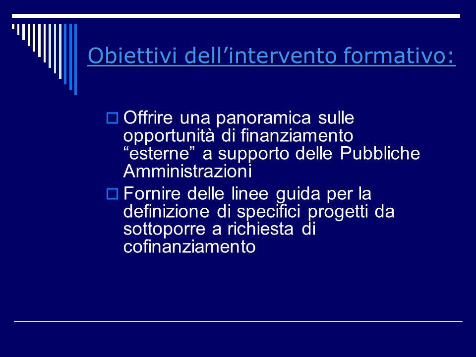 Obiettivi dell'intervento formativo: