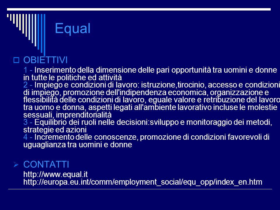 Equal OBIETTIVI CONTATTI