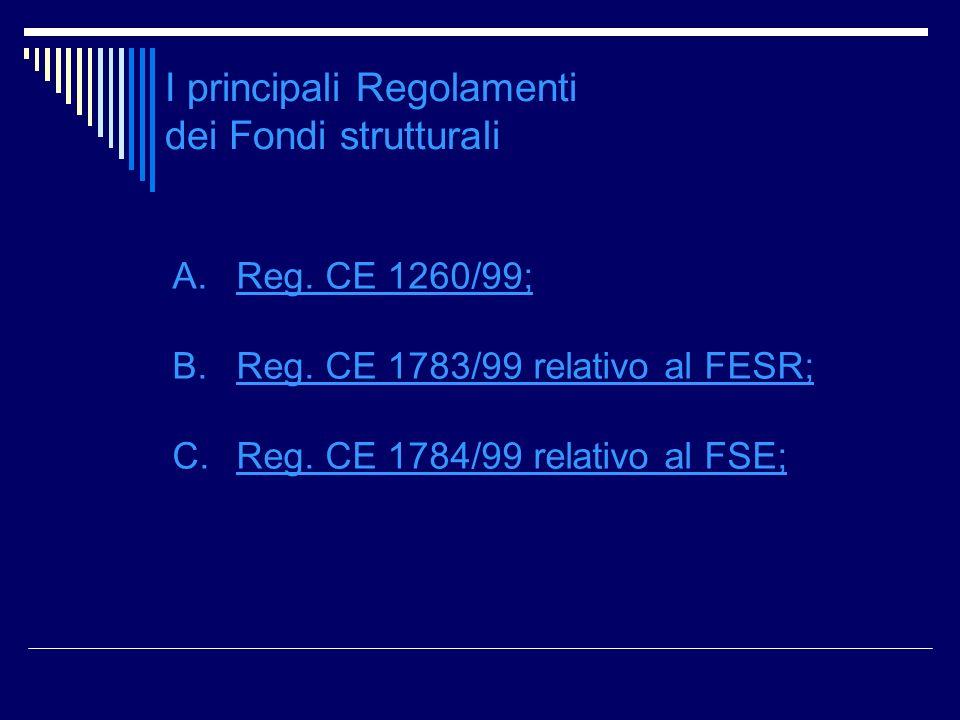 I principali Regolamenti dei Fondi strutturali