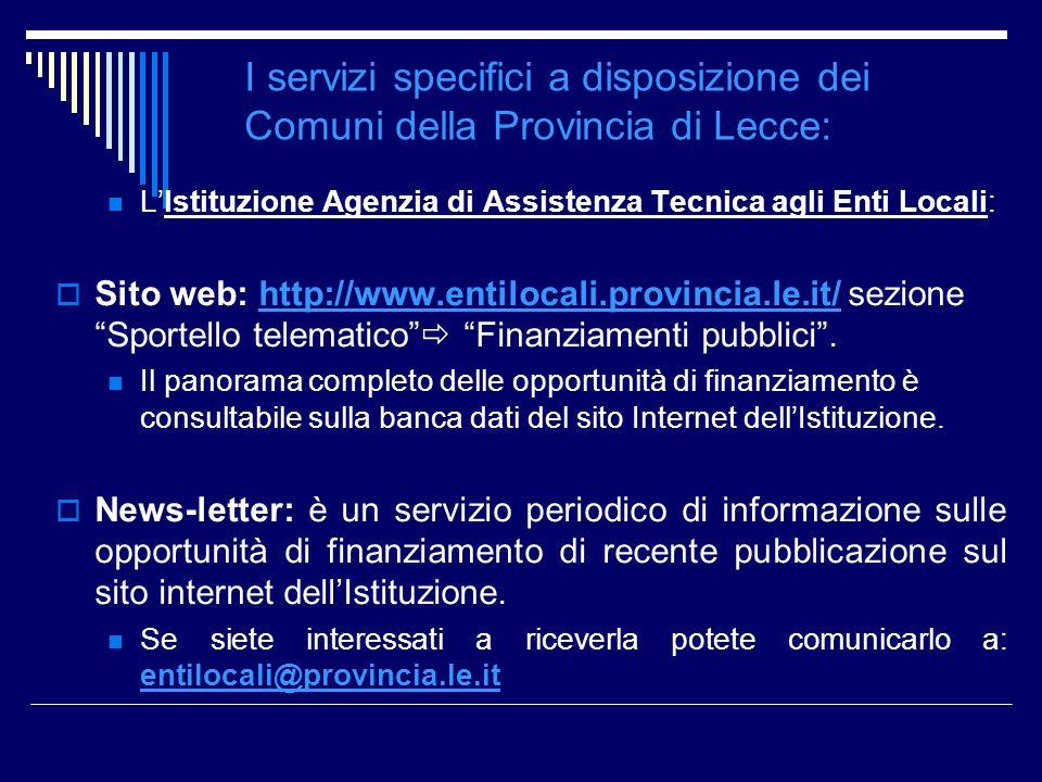 I servizi specifici a disposizione dei Comuni della Provincia di Lecce: