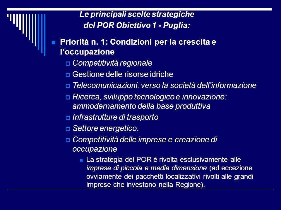 Le principali scelte strategiche del POR Obiettivo 1 - Puglia: